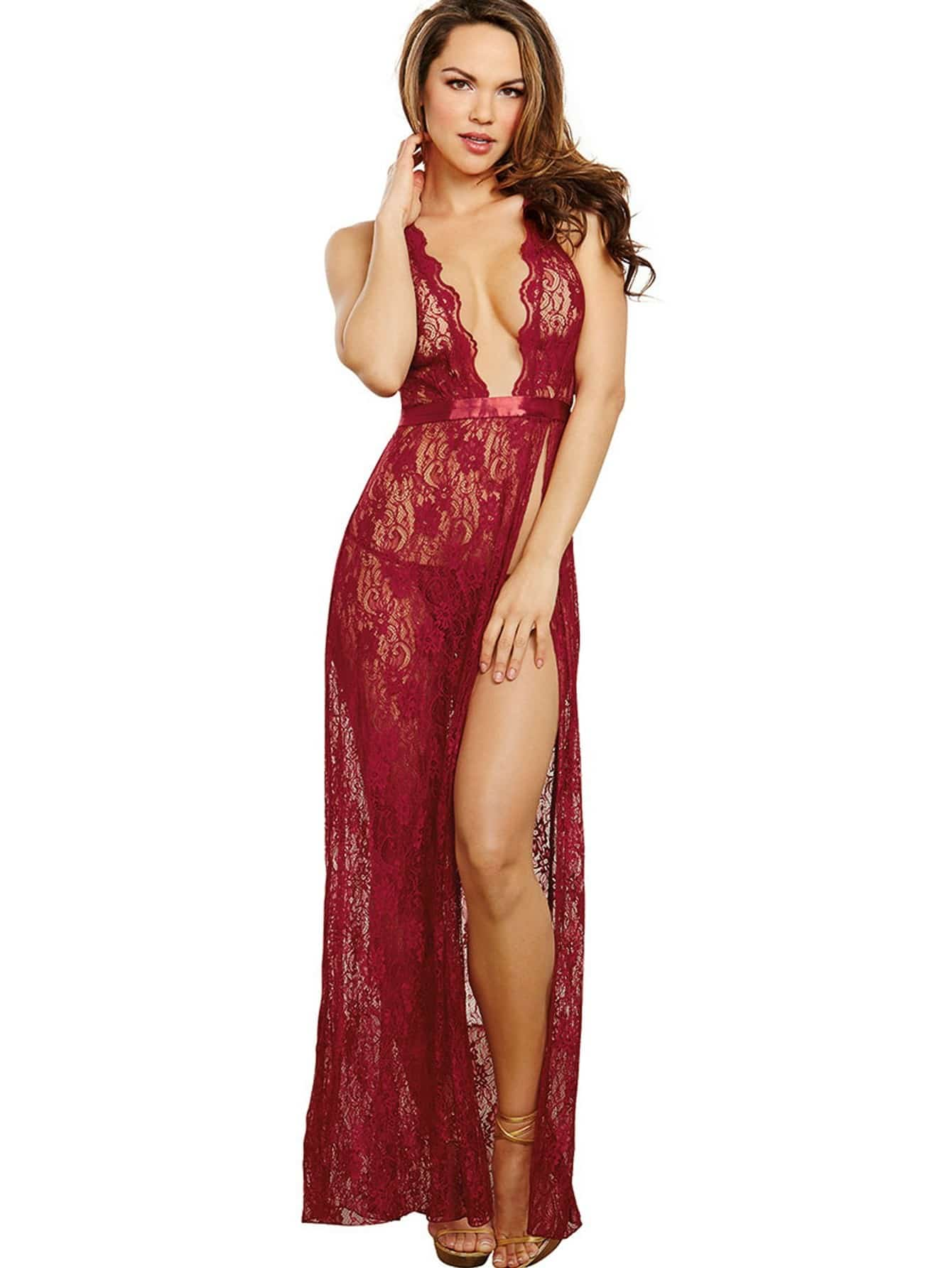 Backless Split Lace Dress With Thong high split lace dress with thong