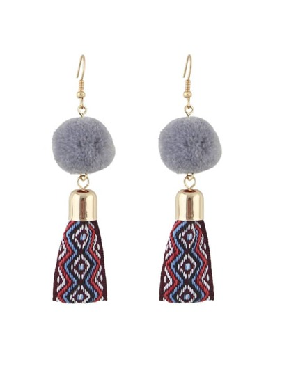 Gray Ethnic Fur Ball Embroidery Earrings