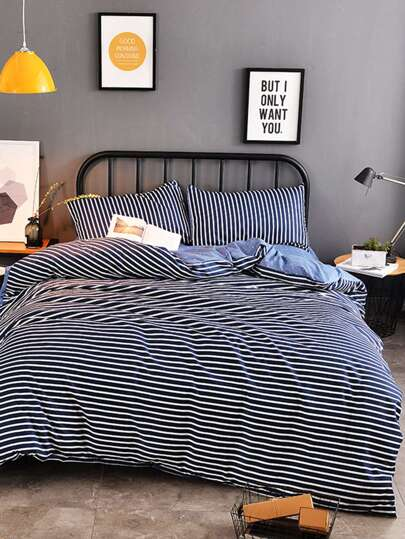 2.2m 4Pcs Striped & Dot Print Duvet Cover Set