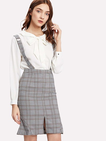 Glen Plaid Split Front Skirt With Straps