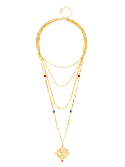 Round Pendant Layered Chain Necklace With Jewelry