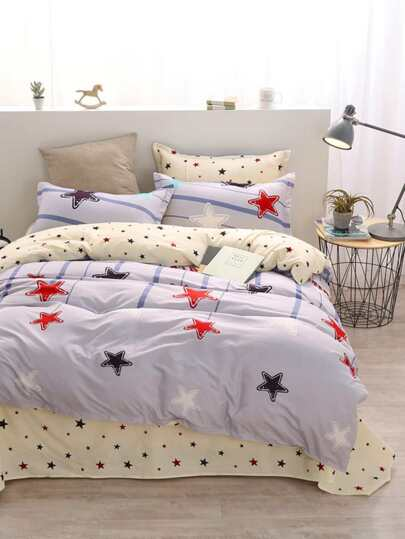 1.8m Star Print Duvet Cover Set