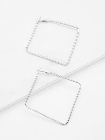 Open Square Design Drop Earrings