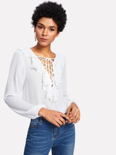 Lace Up Ruffle V Neck Top