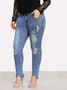 Distressed Bleach Wash Jeans