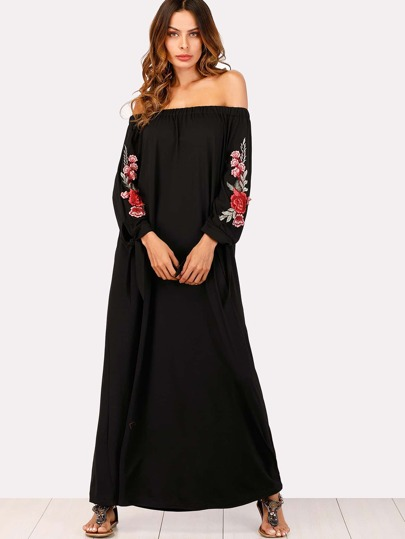 Off Shoulder Floral Embroidered Applique Dress