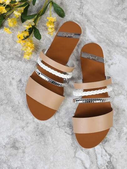 Open Toe Multi Strap Shiny Slide in Sandal TOFFEE