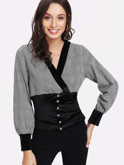 Contrast Velvet Shirred Waist Plaid Blouse