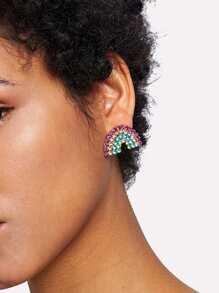 Rhinestone Rainbow Design Stud Earrings