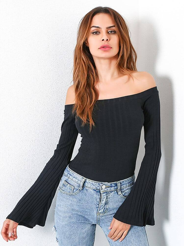 Off Shoulder Bell Sleeve Ribbed Tee pearl detail layered bell sleeve ribbed top