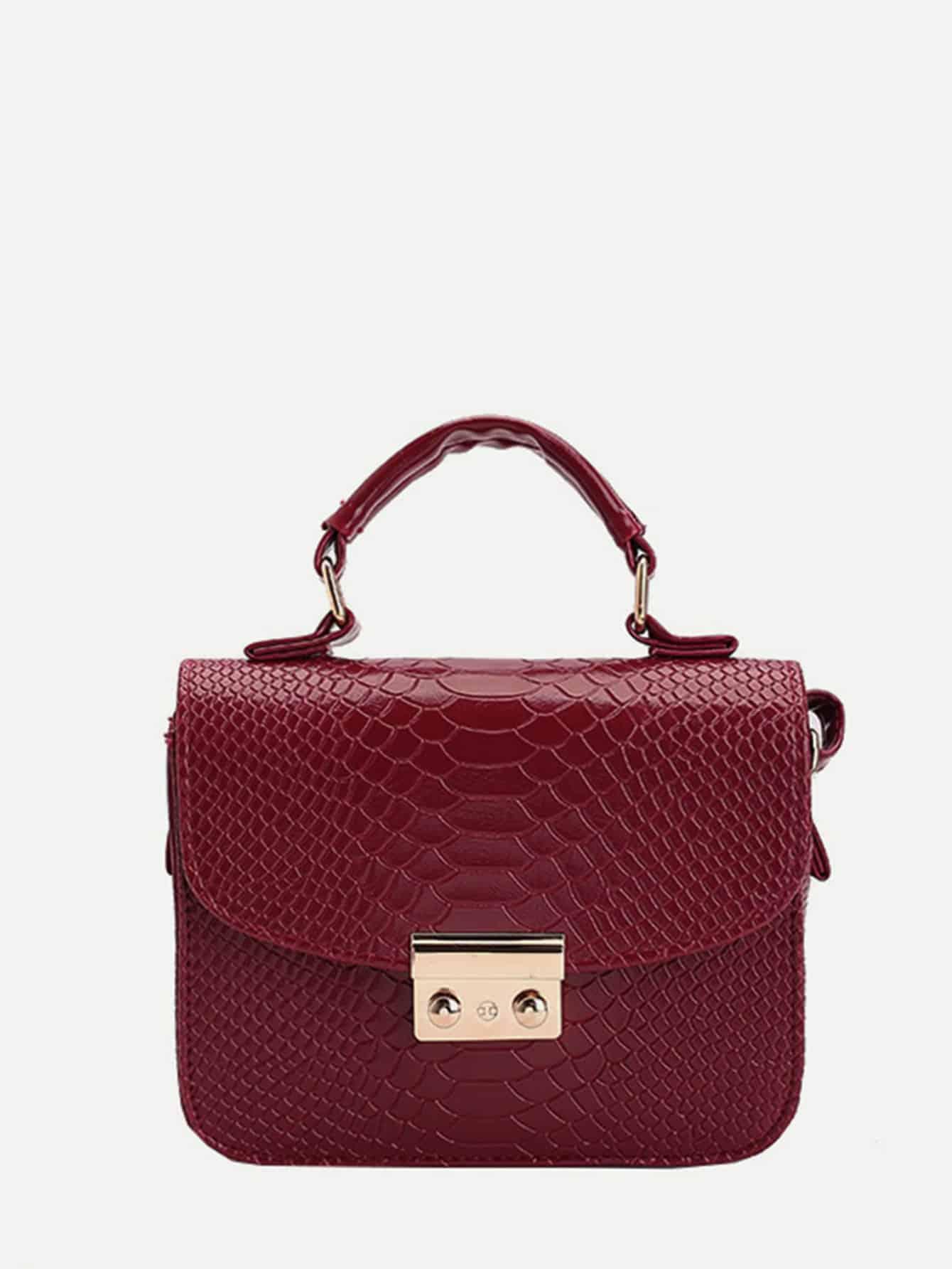 Snakeskin Pattern PU Flap Lock Crossbody Bag pu crossbody flap bag