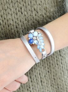 Multilayers Pu Leather Flower Pattern Wrap Bracelets