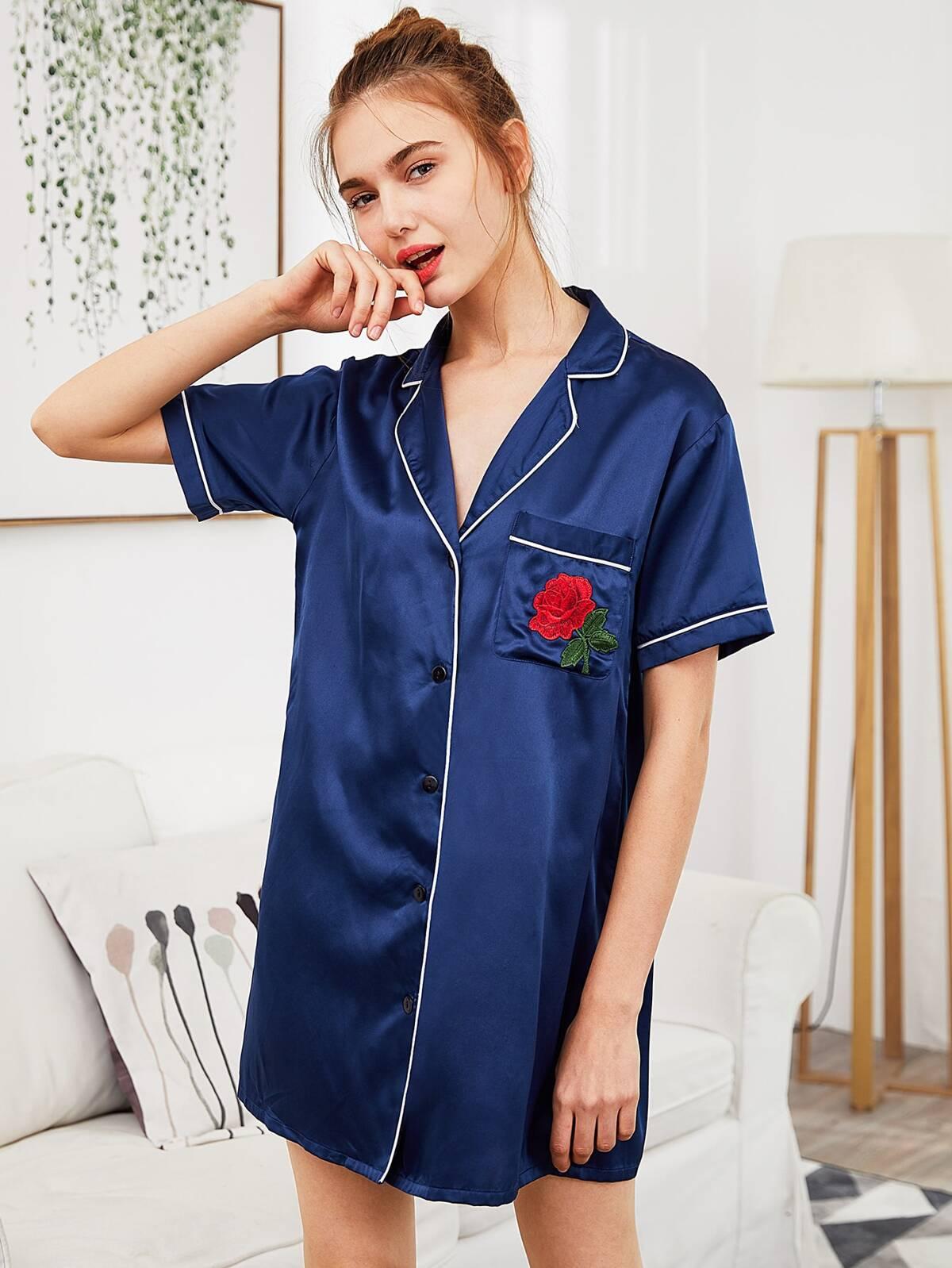 玫瑰 貼片 翻領 對比色 捆綁 睡衣褲組 襯衫