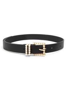 Faux Pearl Decor Buckle Belt
