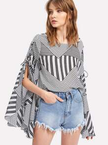 Mixed Print Lace Up Exaggerate Sleeve Top
