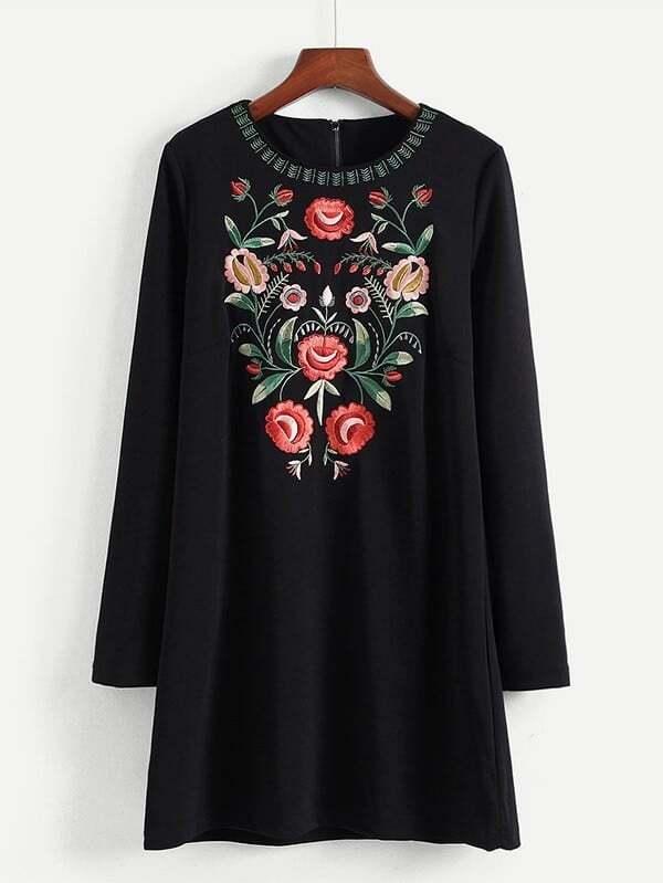 Embroidered Flower Tunic Dress tunic stellar tunic