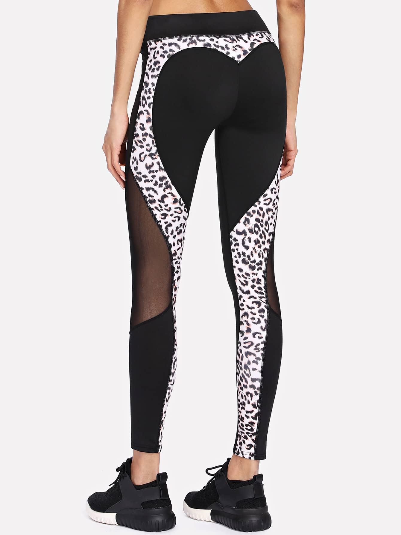 Mesh Panel Leopard Leggings leopard print leggings