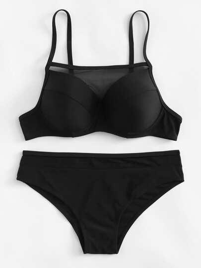 Contrast Mesh Bikini Set