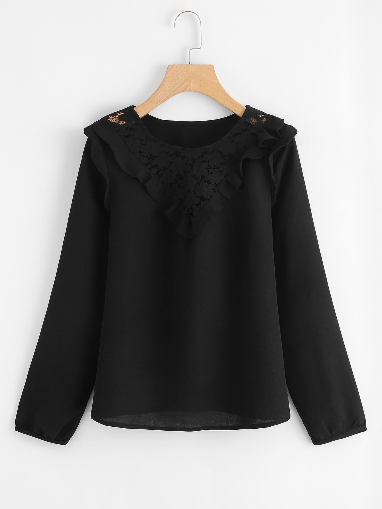 Frill Trim Lace Yoke Top lace panel yoke top