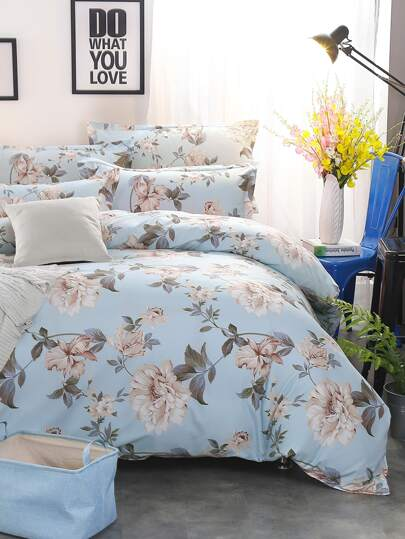 2.2m 4Pcs All Over Florals Print Bedding Set