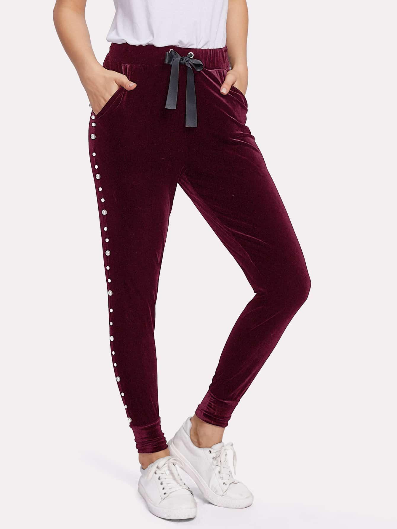 Купить Модные бархатные брюки на кулиске с бусинами, Zulcar, SheIn