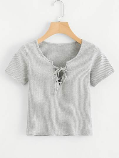 Lace Up Marled Ribbed Crop Tee