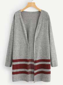 Stripe Panel Marled Knit Cardigan
