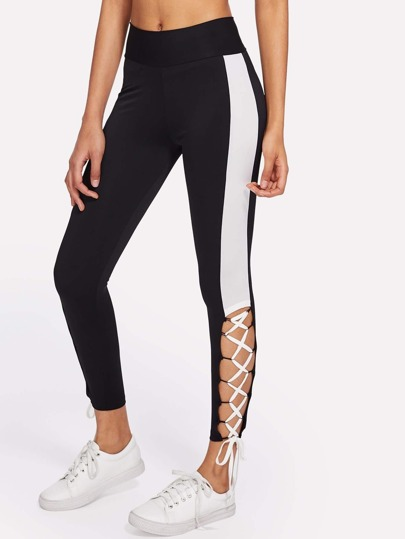 Contrast Panel Lace Up Leggings