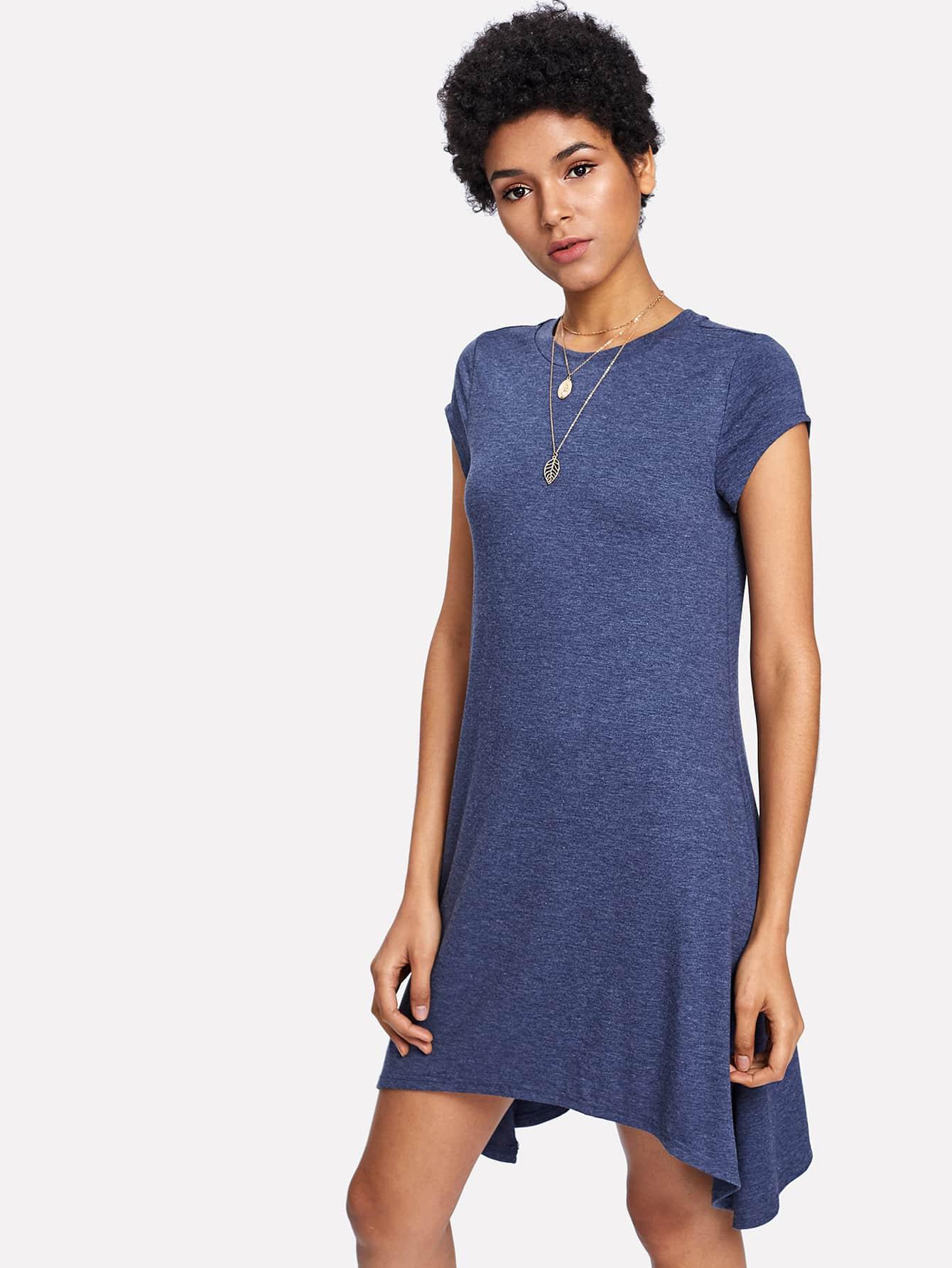 Asymmetric Hem Shift Dress lace design asymmetric hem dress