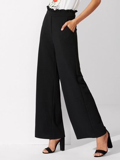 Frill Waist Wide Leg Pants