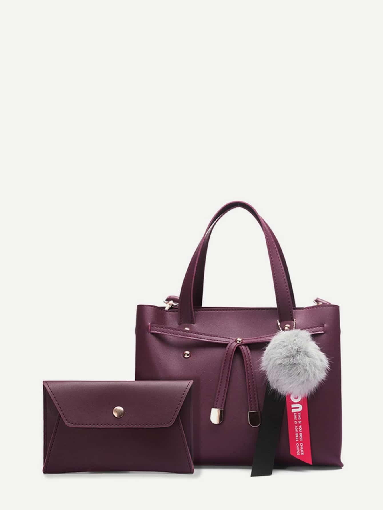 Faux Fur Ball Charm PU Bag With Envelope Clutch transparent envelope clutch bag