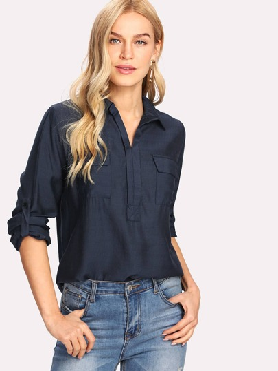 Roll Up Sleeve Chest Flap Pockets Shirt