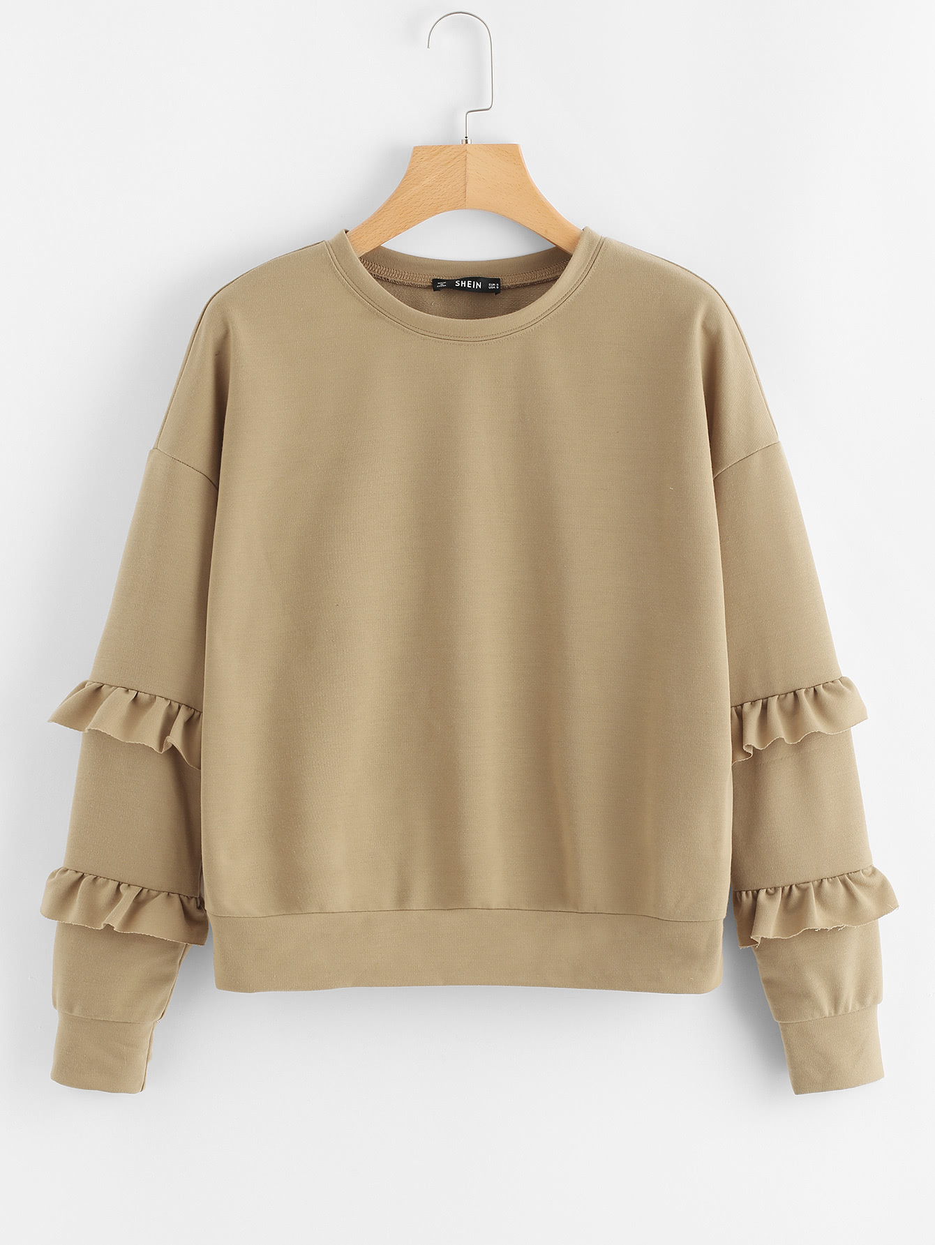 Drop Shoulder Ruffle Sleeve Sweatshirt hooded drop shoulder patch sweatshirt