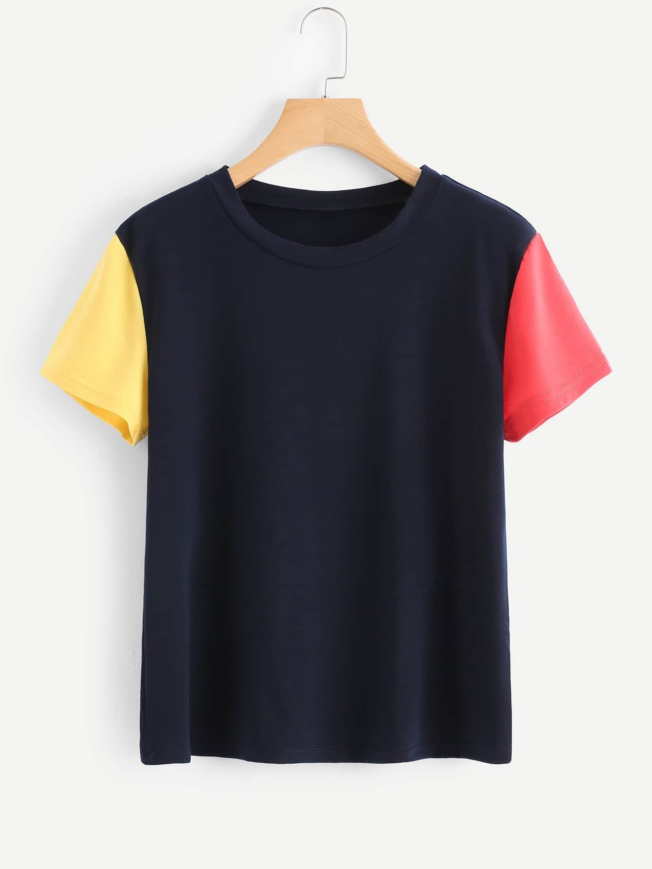 Colorblock Sleeve Tee colorblock lace up tee