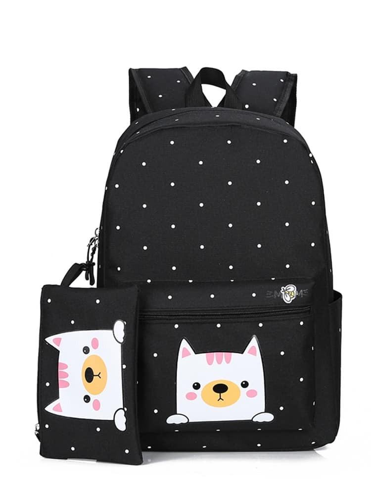 Polka Dot Cat Print Backpacks Clutch Bag