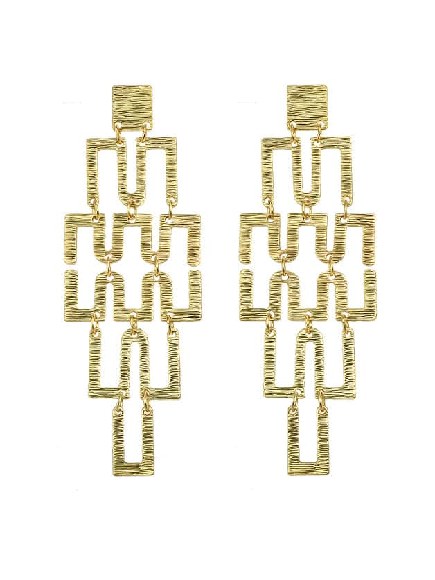 Hollow Out Geometric Pattern Drop Earrings ethnic hollow out statement drop earrings