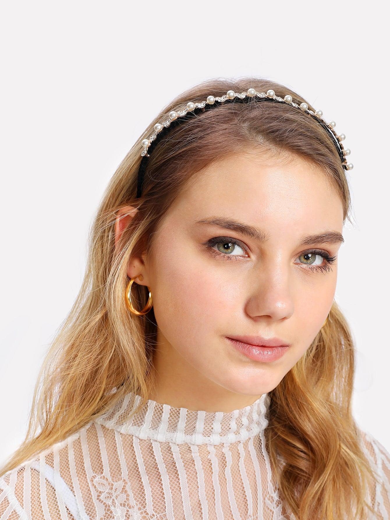 Купить Модный обруч для волос с бусинами и стразами, null, SheIn