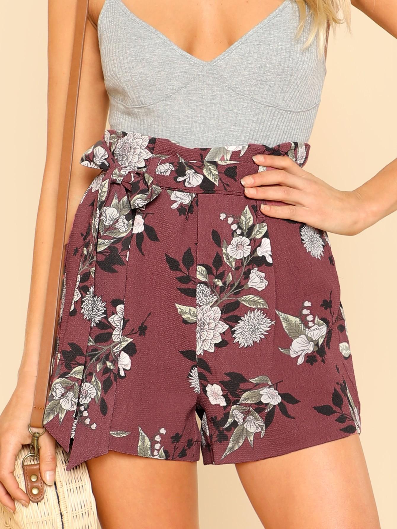 Купить Модные шорты с поясом и цветочным принтом, Allie Leggett, SheIn