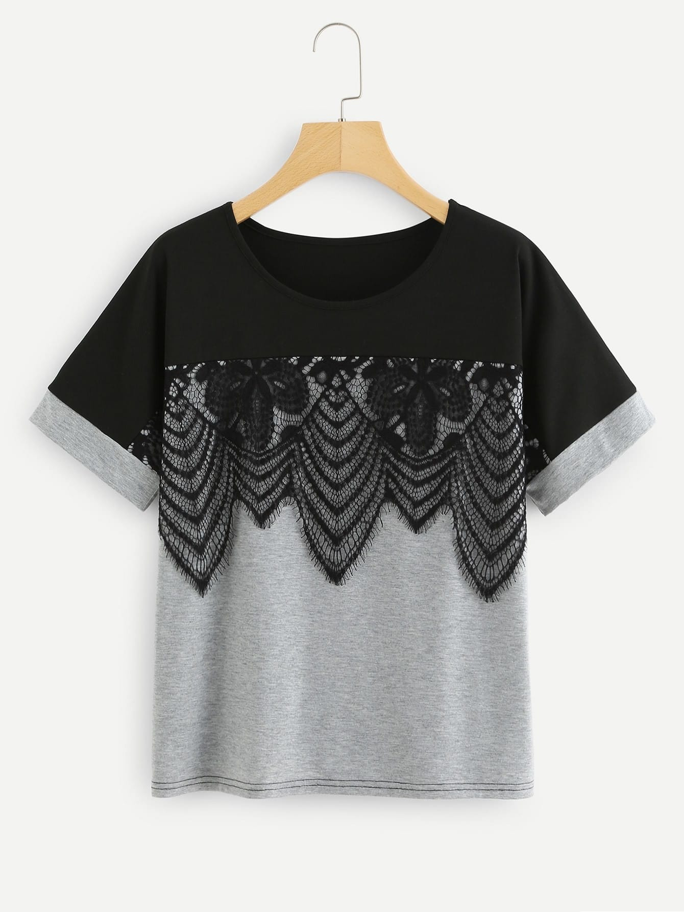 Lace Applique Two Tone T-shirt tree print asymmetric two tone t shirt