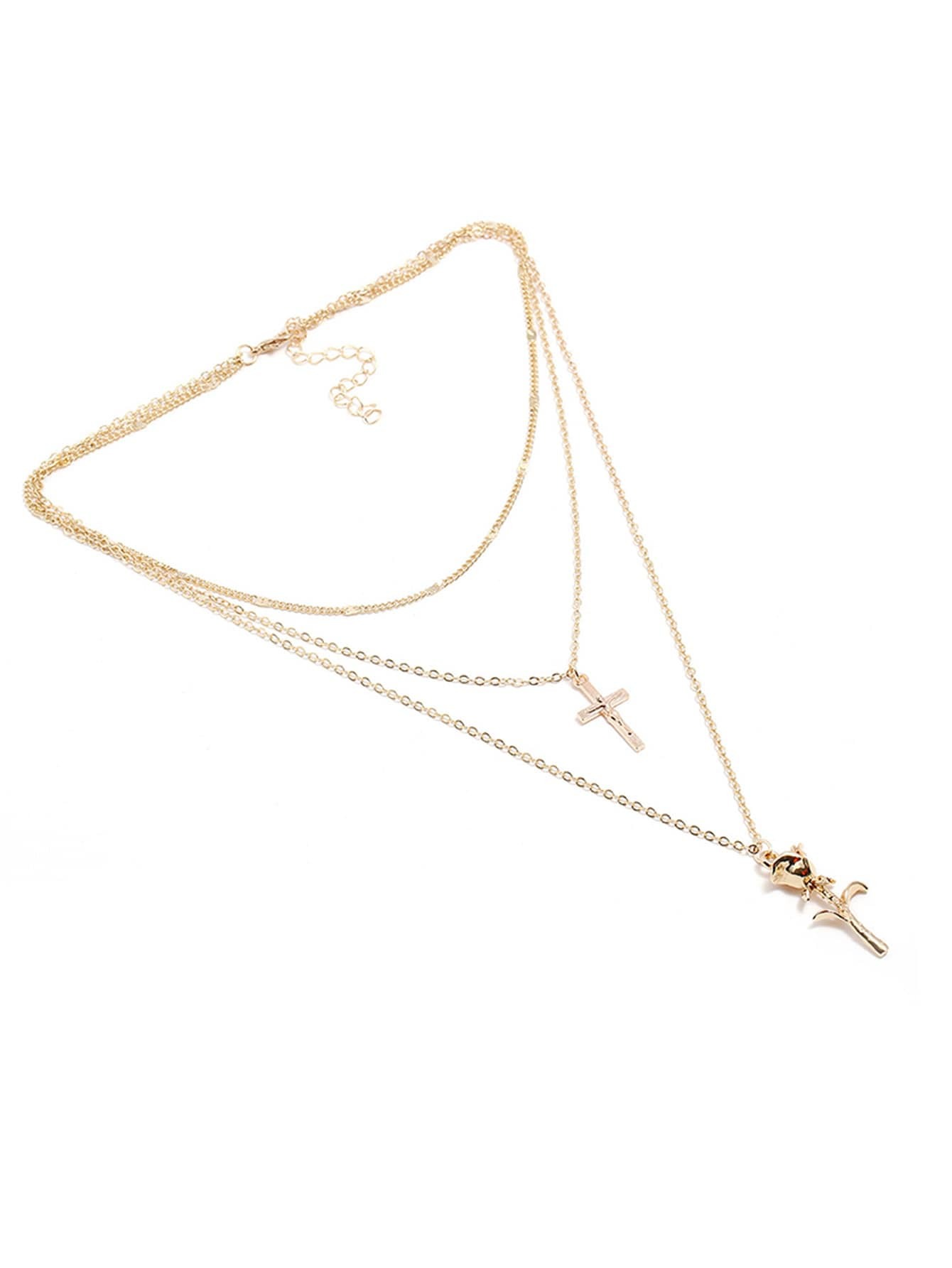 Cross & Pendant Layered Chain Necklace cross pendant layered chain necklace