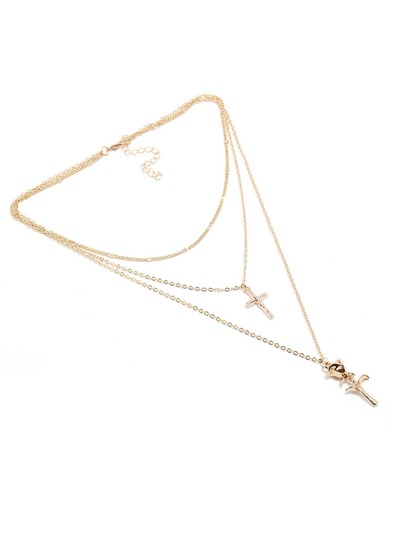 Cross & Pendant Layered Chain Necklace