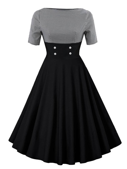 Contrast Houndstooth Circle Dress