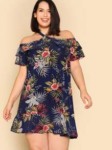 Tropical Print Crisscross Halter Dress