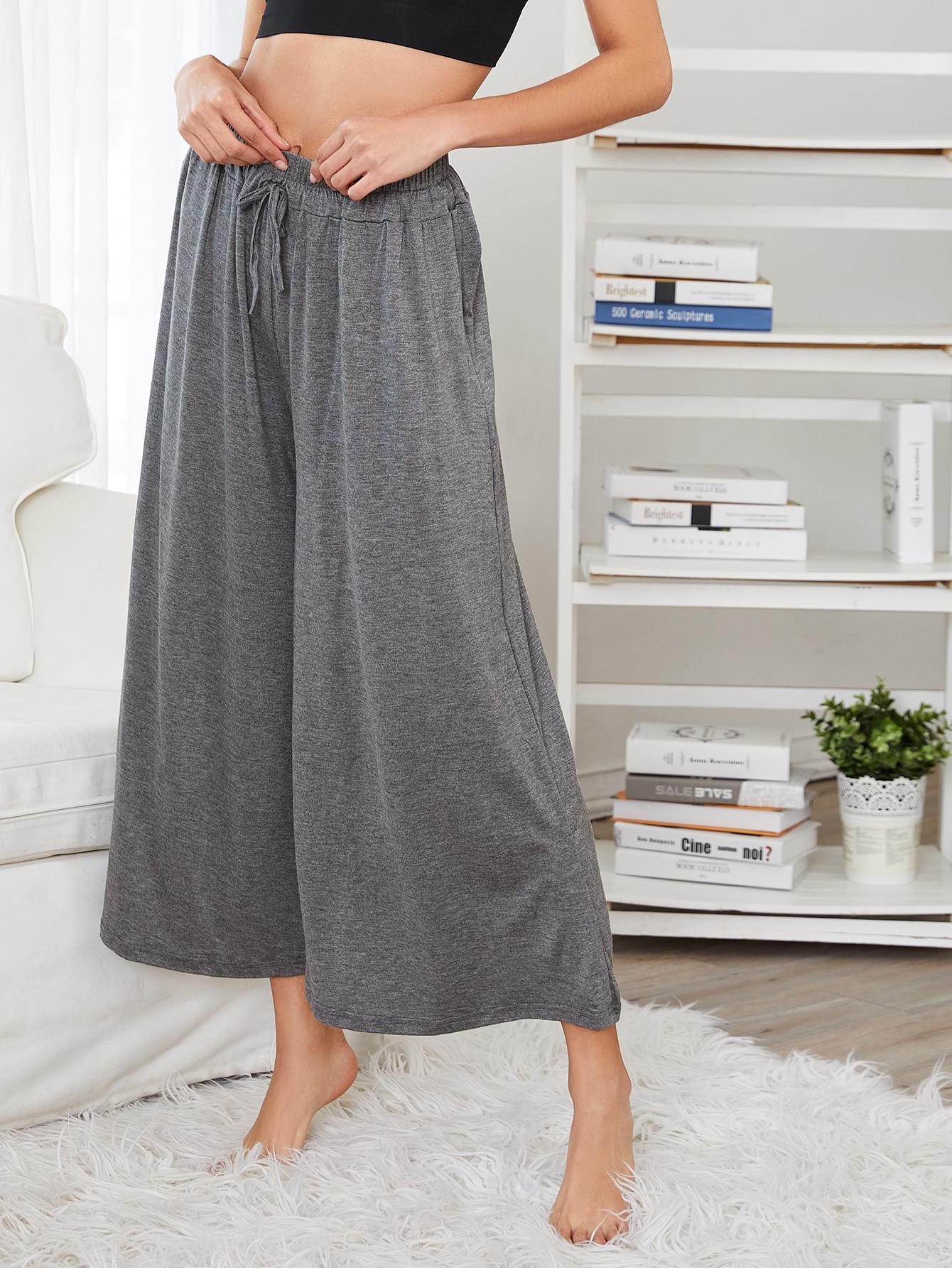 Drawstring Waist Wide Leg Pants drawstring waist tapered leg jogger