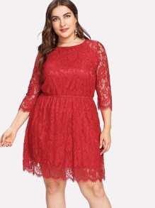 Raglan Sleeve Eyelash Lace Dress