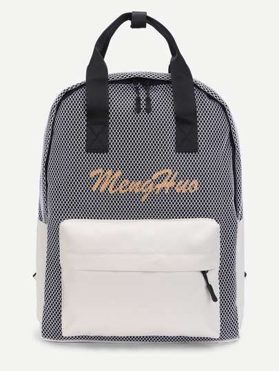 Net Overlay Two Tone Canvas Backpack