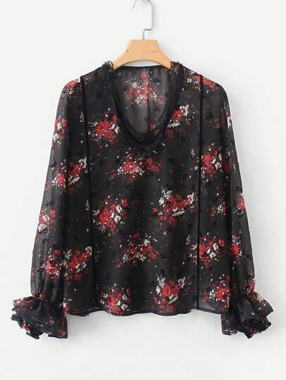Lace Trim Fluted Sleeve Calico Blouse