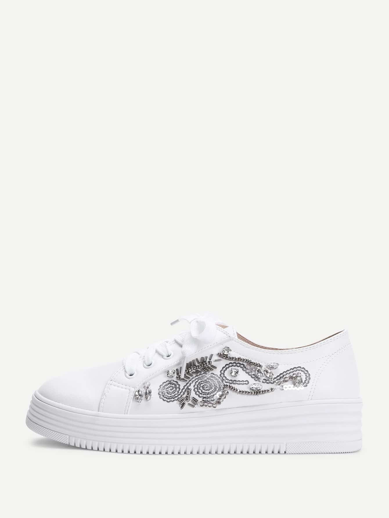 Beads & Crystal Design Lace Up Sneakers