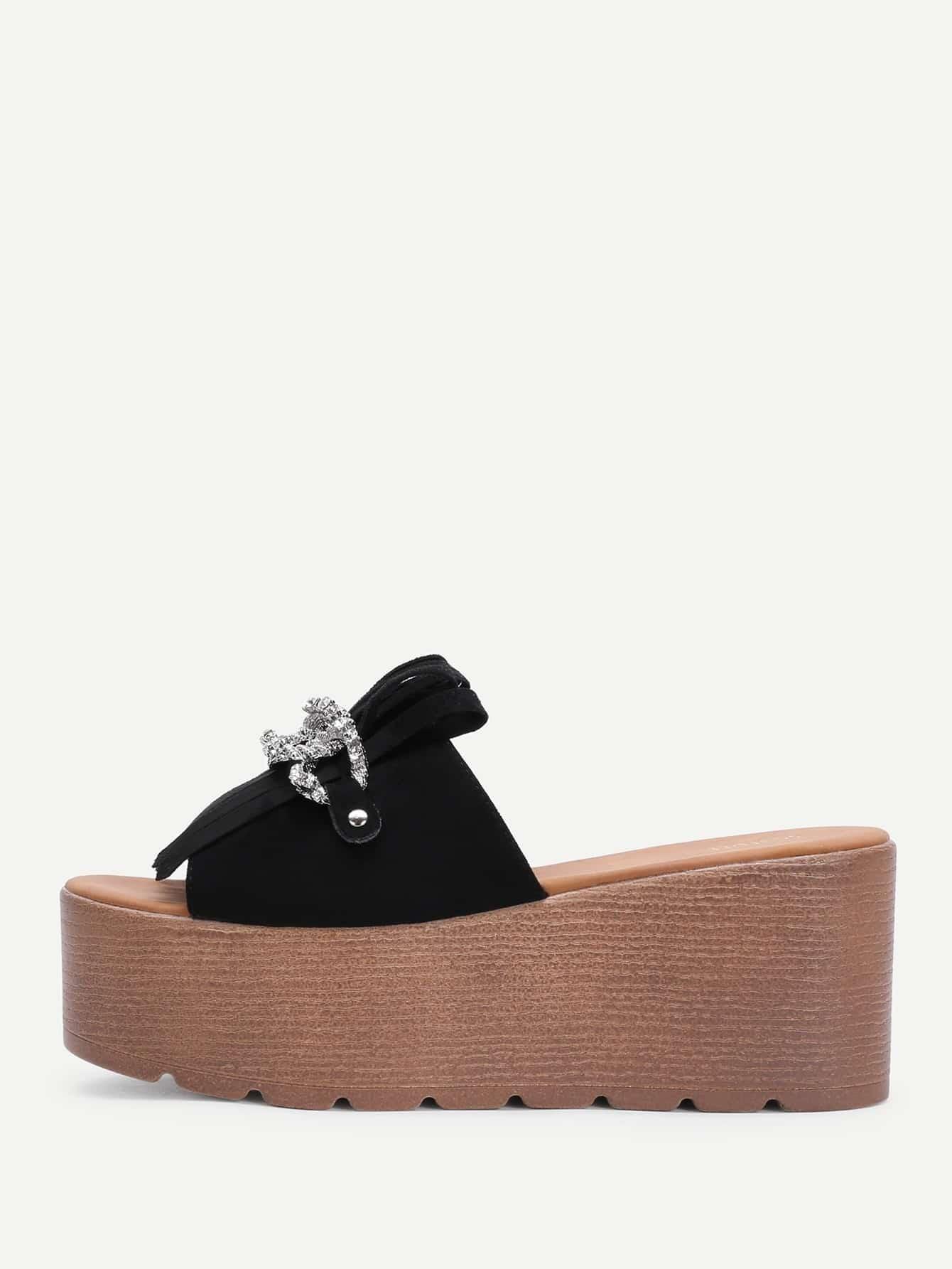 Fringe Design Wedge Sandals With Rhinestone
