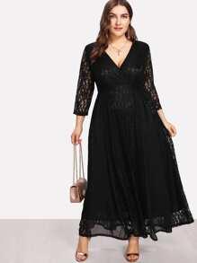 Surplice Neck Floral Lace Overlay Dress